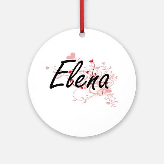 Elena Artistic Name Design with H Ornament (Round)