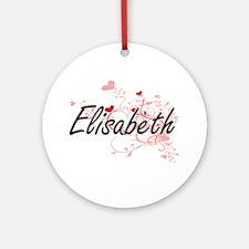 Elisabeth Artistic Name Design wi Ornament (Round)