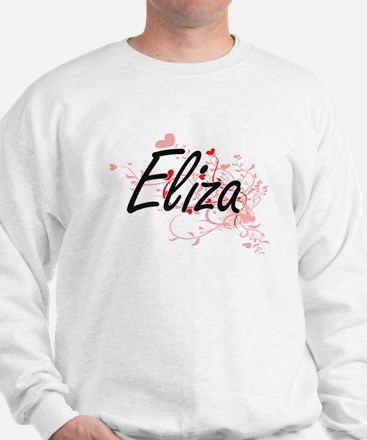 Eliza Artistic Name Design with Hearts Sweater
