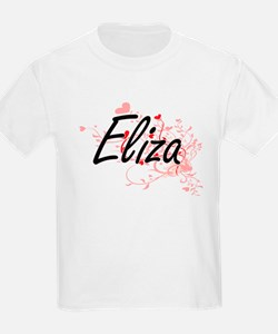 Eliza Artistic Name Design with Hearts T-Shirt
