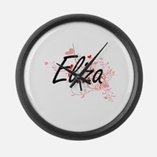 Eliza Artistic Name Design with H Large Wall Clock