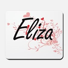 Eliza Artistic Name Design with Hearts Mousepad