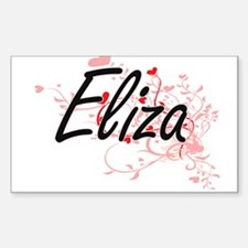 Eliza Artistic Name Design with Hearts Decal