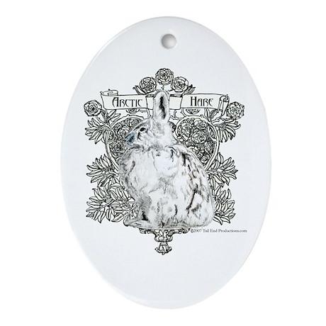 Arctic Hare White Rabbit Oval Ornament