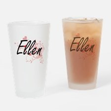 Ellen Artistic Name Design with Hea Drinking Glass