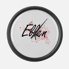Ellen Artistic Name Design with H Large Wall Clock