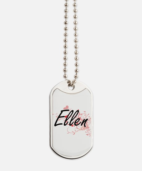 Ellen Artistic Name Design with Hearts Dog Tags