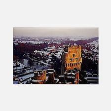 Snowy Warwick Castle Rectangle Magnet