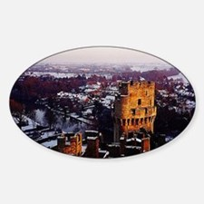 Snowy Warwick Castle Sticker (Oval)