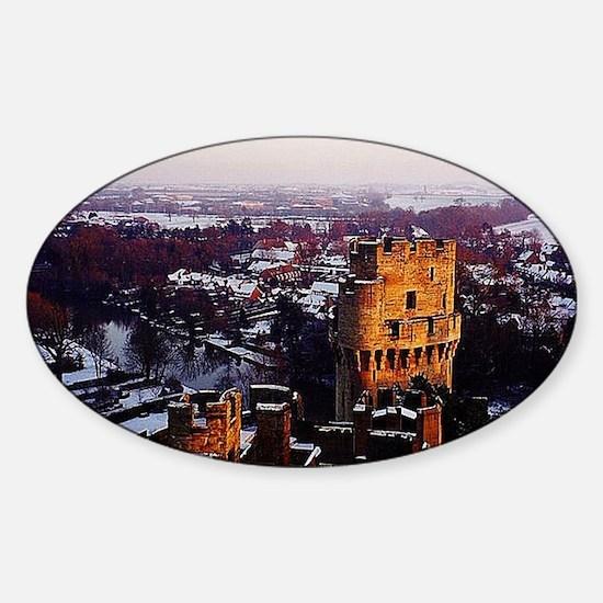 Snowy Warwick Castle Sticker (Oval)