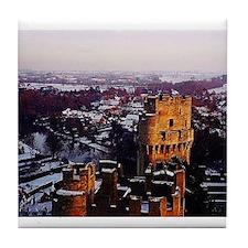 Snowy Warwick Castle Tile Coaster