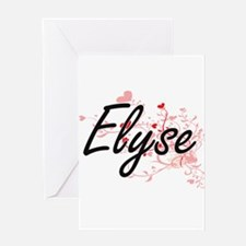 Elyse Artistic Name Design with Hea Greeting Cards