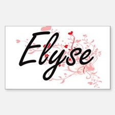 Elyse Artistic Name Design with Hearts Decal
