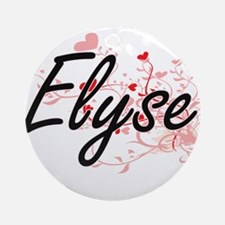 Elyse Artistic Name Design with H Ornament (Round)