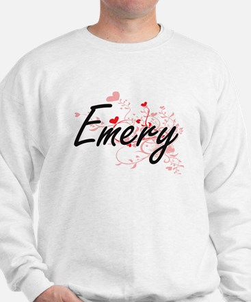 Emery Artistic Name Design with Hearts Sweatshirt