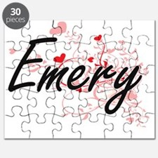 Emery Artistic Name Design with Hearts Puzzle