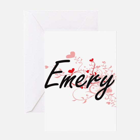 Emery Artistic Name Design with Hea Greeting Cards