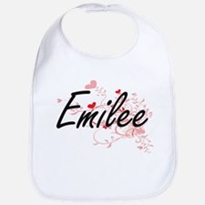 Emilee Artistic Name Design with Hearts Bib