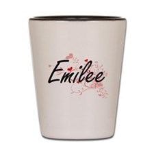 Emilee Artistic Name Design with Hearts Shot Glass