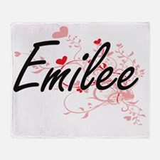 Emilee Artistic Name Design with Hea Throw Blanket
