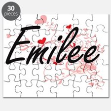 Emilee Artistic Name Design with Hearts Puzzle