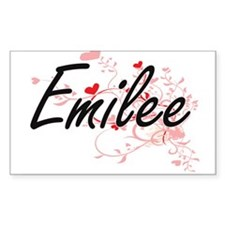 Emilee Artistic Name Design with Hearts Decal