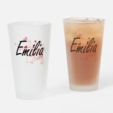 Emilia Artistic Name Design with He Drinking Glass