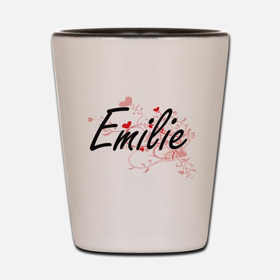 Emilie Artistic Name Design with Hearts Shot Glass