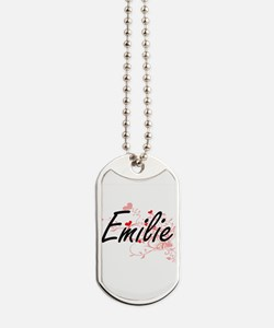 Emilie Artistic Name Design with Hearts Dog Tags