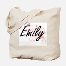 Emily Artistic Name Design with Hearts Tote Bag