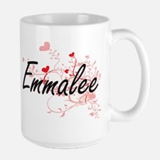 Emmalee Artistic Name Design with Hearts Mugs
