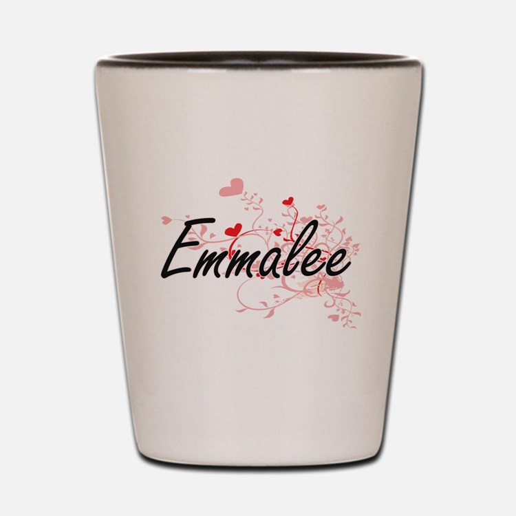 Emmalee Artistic Name Design with Heart Shot Glass