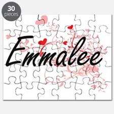 Emmalee Artistic Name Design with Hearts Puzzle