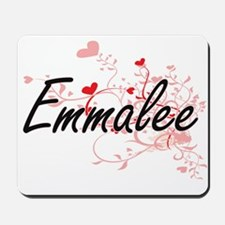 Emmalee Artistic Name Design with Hearts Mousepad