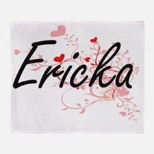 Ericka Artistic Name Design with Hea Throw Blanket