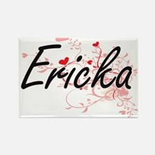 Ericka Artistic Name Design with Hearts Magnets