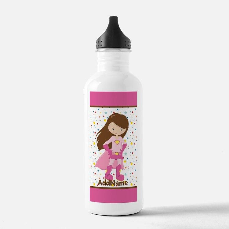 Pink Girl Superhero Pe Sports Water Bottle