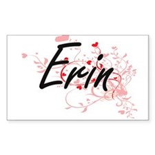 Erin Artistic Name Design with Hearts Decal