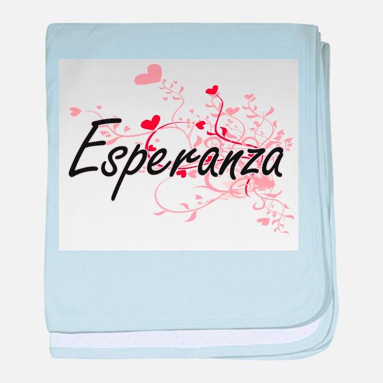 Esperanza Artistic Name Design with H baby blanket