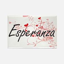Esperanza Artistic Name Design with Hearts Magnets