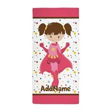 Brown Pink Girl Superhero Personalized Beach Towel
