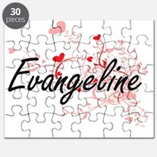 Evangeline Artistic Name Design with Hearts Puzzle