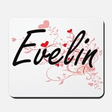 Evelin Artistic Name Design with Hearts Mousepad