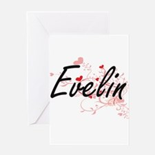 Evelin Artistic Name Design with He Greeting Cards