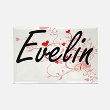 Evelin Artistic Name Design with Hearts Magnets