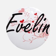 Evelin Artistic Name Design with Ornament (Round)