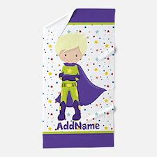 Kids Boy Superhero Personalized Beach Towel