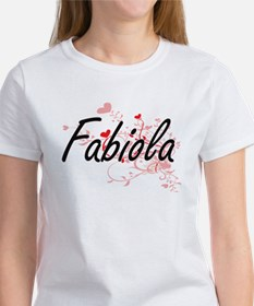 Fabiola Artistic Name Design with Hearts T-Shirt