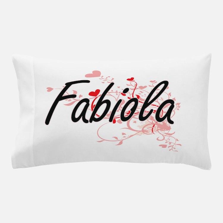 Fabiola Artistic Name Design with Hear Pillow Case