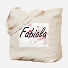 Fabiola Artistic Name Design with Hearts Tote Bag